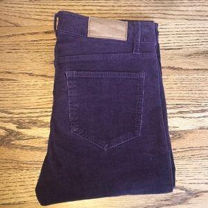Purple skinny corduroy pants